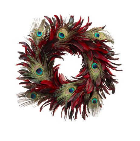 22&#8243; Regal Peacock Red and Burgundy Feather Christmas Wreath